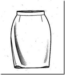 вид прямой юбки спереди