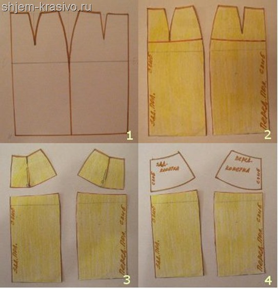 Как сделать выкройку юбки на кокетке.