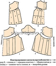 конструирование платья на круглой кокетке