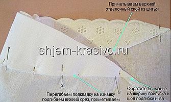 настрачиваем нижний срез подкладки и отделку