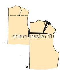 Изменение выкройки - сутулая спина - вытачка в области плеча