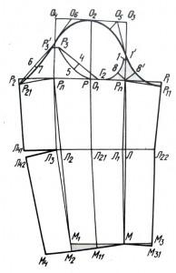 Построение чертежа одношовного рукава с локтевой вытачкой