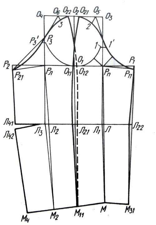 Построение чертежа рукава с верхним и нижними швами