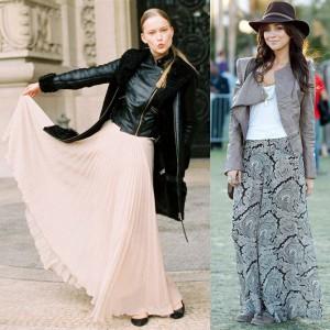 С чем носить юбку в пол осенью
