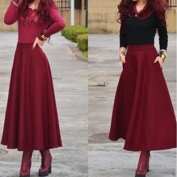 Длинная бордова юбка с чем носить