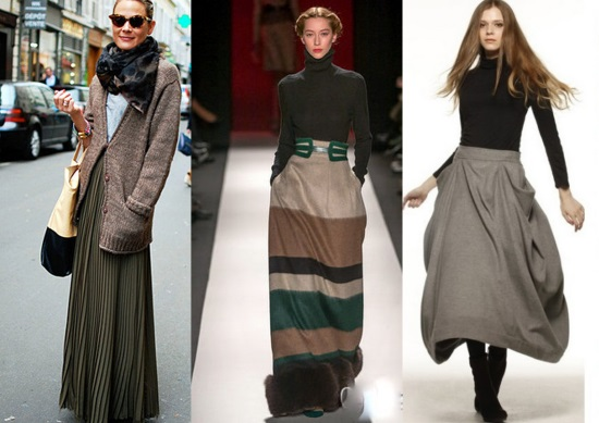 Удлиненная юбка осень