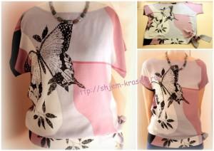 Как сшить лёгкую блузу с притачным поясом-бантом